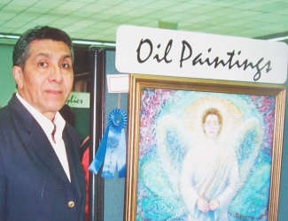 Miguel A. Chávez next to Angel painting, First Prize