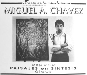 Flyer: Miguel A. Chávez exhibition presented by the Council of Political Parties, 1992